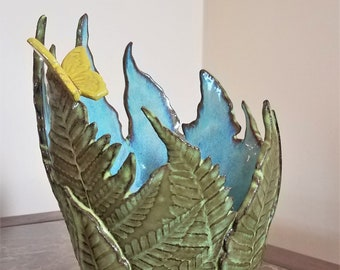 Decorative Fern Vase - Candle Holder - Handmade Pottery - Wedding - Anniversary - Table Centerpiece - Stoneware  - Butterfly - FREE SHIPPING