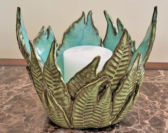 Decorative Fern Bowl - Succulent Planter - Fern Pottery - Candle Holder - Handmade - Centerpiece - Gift for Fern Lover - FREE SHIPPING