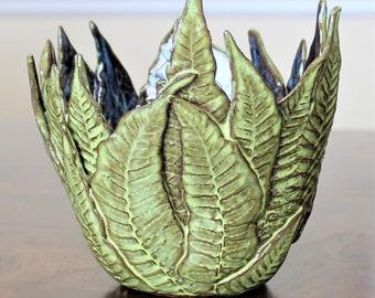 Fern Vase - Succulent Vase - Cactus Planter - Centerpiece - Candle Holder - Pottery - Fern Pottery - Leaf Vase - FREE SHIPPING - X-mas Gift
