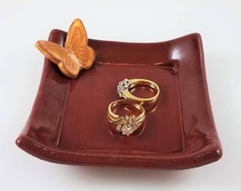 Decorative Tray - Stoneware - Ring Dish - Jewelry Dish - Candle Holder - Tea Bag Holder - Guest Soap Dish - Butterfly - Red - Yellow