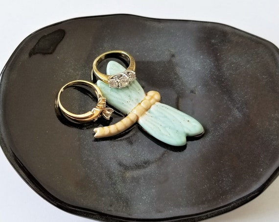 Dragonfly Dish - Little Ceramic Dish - Jewelry Dish - Trinket Dish - Ring Dish - Handcrafted Stoneware - Gift For Friend - Gift For Her