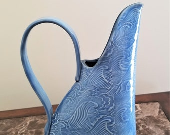 Pitcher - Jug - Ocean Wave Design - Stoneware - Beverage Pitcher - Iced Tea Pitcher - Pale Blue - Flower Vase - 20 ounces - Free Shipping