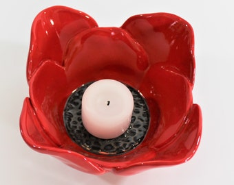 Red Poppy Bowl - Candle Holder - Small Serving Bowl - Mother's Day - Jewelry Dish - Pottery Bowl - Stoneware - Flower Bowl - Gift for Her