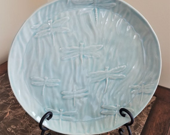 Dragonfly Plate - Serving Tray - Stoneware - Ice Blue - Dessert Tray - Candle Holder - Handmade Pottery - Decorative Tray - FREE SHIPPING