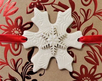 Porcelain Snowflake - Package Decoration  - Snowflake Ornament - Handcrafted - Keepsake Ornament - Gift Wrap - Holiday - FREE SHIPPING