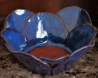 Table Centerpiece - Candle Holder  - Meditation Room - Large Blue Bowl - Anniversary Gift - Handmade Pottery - Stoneware - FREE SHIPPING