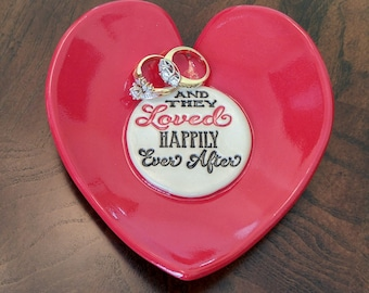 Wedding Gift - Gift for Couple - Valentine - Inspirational Gift - Anniversary Gift - Under 25 Dollars - Stoneware - Red Heart - Ring Dish