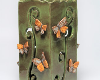 Butterfly Luminary - Candle Holder - Stoneware - Carved - Gift for Her - Outdoor Decor - Patio - Lantern -Butterflies - Free Shipping