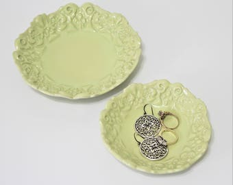 Ceramic Dish - Set of 2 - Candle Holder - Ceramic Plate - Cupcake Plate - Decorative Tray - Jewelry Dish - Ring Dish - Candy Dish - Nut Bowl