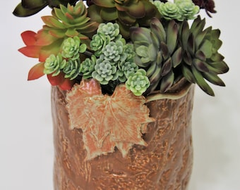 Succulent Garden Holder - Rustic Maple Leaf Vase - Rustic Planter - Farmhouse Decor - Utensil Holder - Succulent Planter - Stoneware