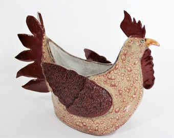 Farmhouse Decor - Rooster Centerpiece - Handcrafted Ceramic Rooster - Planter - Country Decor - Rustic Decor - Farm House - Free Shipping