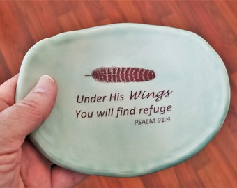 Ceramic Dish - Inspirational - Under His Wings Psalm - Feather - Ring Dish - Little Tray - Handcrafted Stoneware - Gift For Friend - Aqua