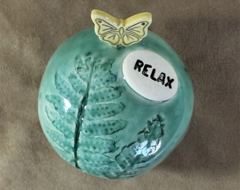 Shaman Rattle - Ceramic Meditation Rattle - Spirit Rattle -Inspirational Gift - Butterfly - Meditation Altar - Clay Rattle - Gift For Her