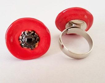 Poppy Jewelry - Red Poppy - Red Poppy Ring - Fashion Jewelry - Ceramic Jewelry - Ring - Adjustable Ring - Poppy Ring - Handmade Pottery