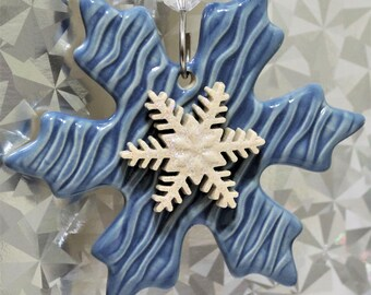 Snowflake Ornament - Christmas Decor - Ornament Exchange - Holiday Ornament - Christmas Ornament - Holiday Decor - Stoneware - FREE SHIPPING