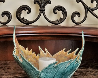 Decorative Fern Bowl - Sculpture - Fern Pottery - Candle Holder - Handmade Pottery - Wedding - Dinning Room Centerpiece - FREE SHIPPING