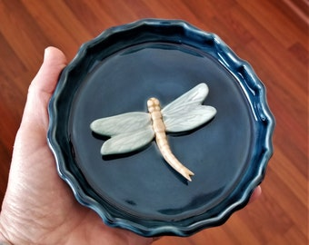 Decorative Tray - Dragonfly - Stoneware - Ring Dish - Jewelry Dish - Tea Bag Holder - Guest Soap Dish - Handmade Stoneware Dish - Blue