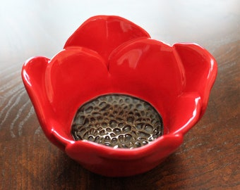 Red Poppy Bowl - Candle Holder - Ice Cream Bowl - Mother's Day - Jewelry Dish - Pottery Bowl - Stoneware - Flower Bowl - Gift for Her