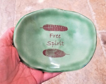 Ceramic Dish - Inspirational - Free Spirit - Feathers - Meditation Altar - Ring Dish - Little Tray - Tea Bag Holder - Gift For Friend