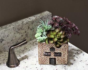 Succulent Planter - Stone House Planter - Ceramic Succulent Holder - Cactus Planter - Mothers Day - Stoneware Planter - Pottery Planter