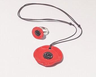 Ceramic Red Poppy Pendant - Adjustable Red Poppy Pendant - Poppy - Jewelry - Pendant - Poppy Pendant - Necklace - Adjustable Pendant