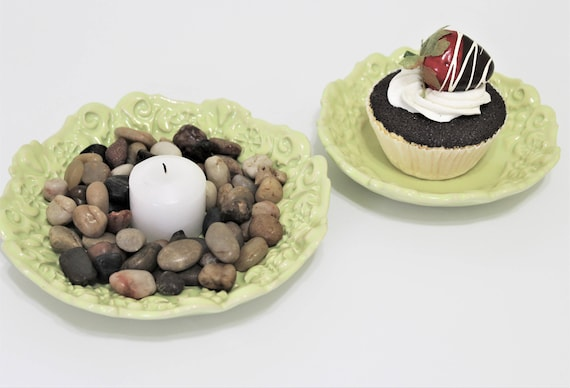 Ceramic Dishes - Set of 2 - Cupcake Plate - Dessert Plate - Jewelry Dish - Ring Dish - Candy Dish - Nut Bowl - Gift For Friend - Stoneware
