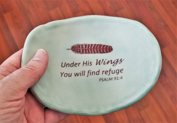 Ceramic Dish - Meditation Room - Inspirational Gift - Psalm 91:4 - Feather - Wings - Ring Dish - Handcrafted Stoneware - Gift For Friend