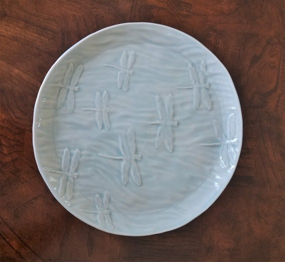 Dragonfly Serving Tray - Stoneware - Round - Ice Blue - Dessert Tray - Candle Holder - Handmade Pottery - Decorative Tray - FREE SHIPPING