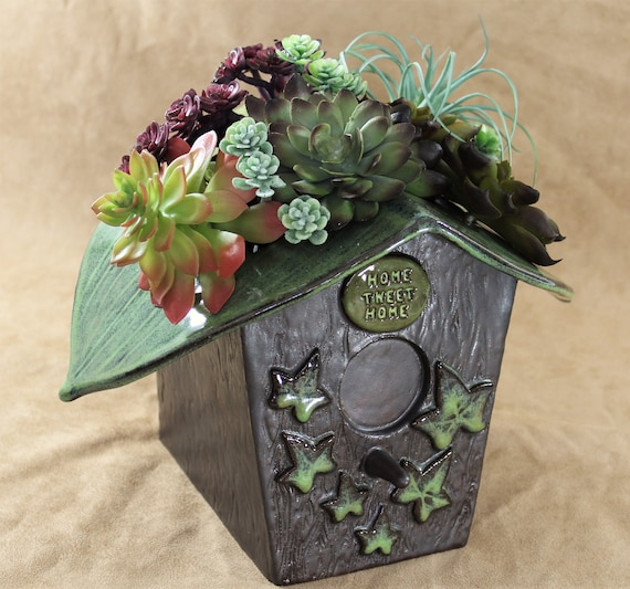 Bird House Planter - Utensil Holder - Handmade Pottery - Stoneware - Nature Decor - Stoneware Container - Garden Decor - FREE SHIPPING