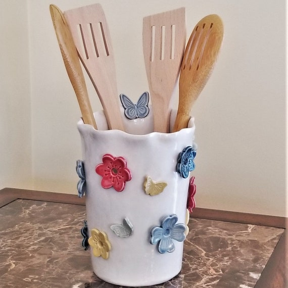 Hello Spring - Floral and Butterfly - Luminary - Candle Holder - Artificial Flower Vase - Utensil Holder - Gift for Her - Stoneware Vase