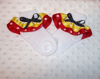 Royal Blue and Red Dot Ribbon with Yellow Bow Double Ruffle Ribbon Socks MTM Sailor Cruise Minnie Mouse