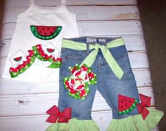 5e197832d5d Watermelon Applique Lime Green Gingham Ruffle Capri Jeans optional tank top  and or socks or watermelon hair bow