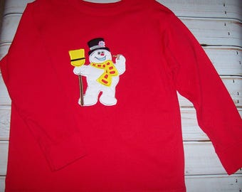 Sample SALE Frosty The SNOWMAN Red Long Sleeve Shirt Size 4T-5T--Christmas--Winter--Present--Ready To Ship