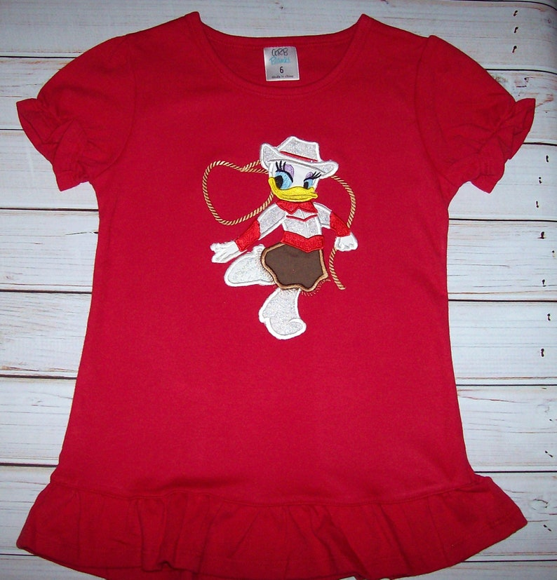 21878ac0451b Sample SALE Daisy Duck Cowgirl Applique Red Short Sleeve Size | Etsy