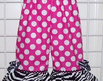 Pink Minnie Dot Pants with Zebra Ruffle