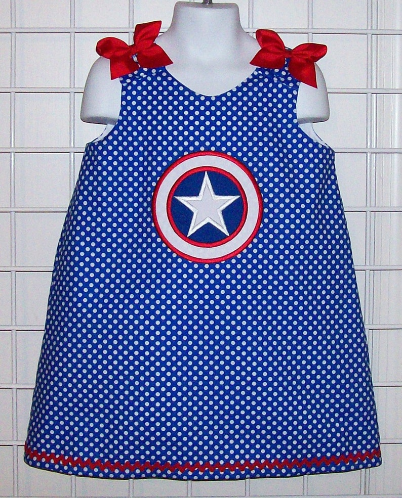 birthday party dress hero dress Captain America Blue Polka Dot Applique Dress Red White and Blue