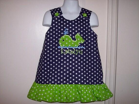 f4bc2e57acc1 Navy Blue Polka Dot Ruffle Dress with Lime Dot Whale Applique