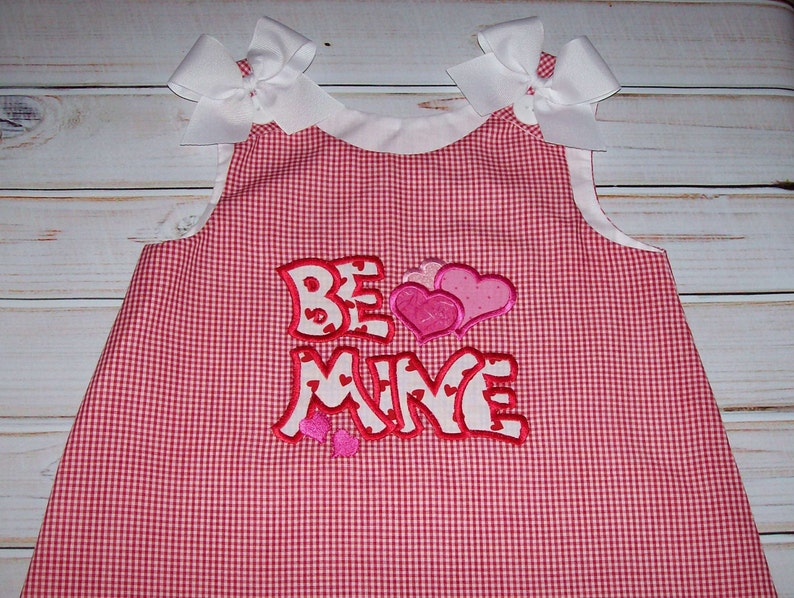 SAMPLE SALE Red Gingham Be Mine Valentine Applique A-line Dress size 18-24 months baby girl dress ready to ship
