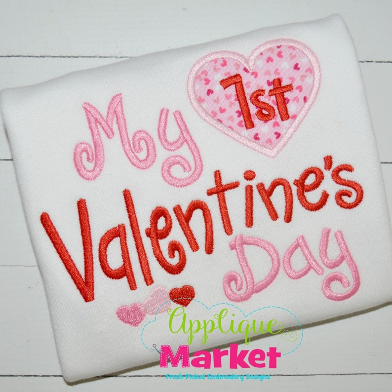 My 1st Valentine Day with Heart Applique Short or Long Sleeve T-shirt or bodysuit  Valentine party girl shirt  my first valentine  baby girl