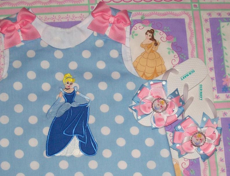 Princess Cinderella wearing Ball Gown Applique Monogram Blue Polka Dot A-line Dress Princess Cinderella birthday party dress  Vacation dress