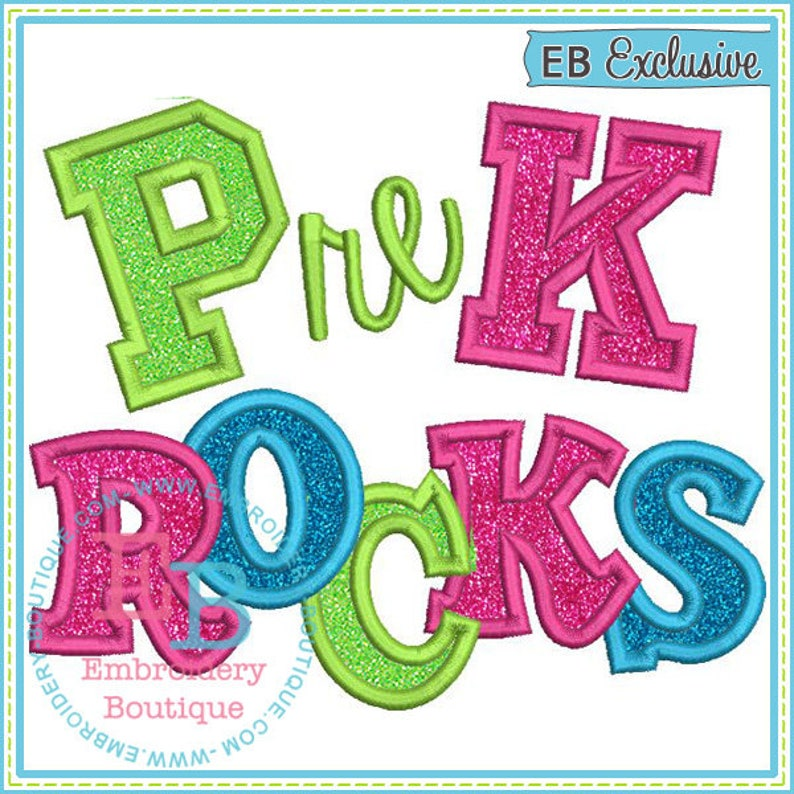 Pre K Rocks Applique Short or Long Sleeve Ruffle T-shirt with or without monogram option back to school shirt  Pre School shirt