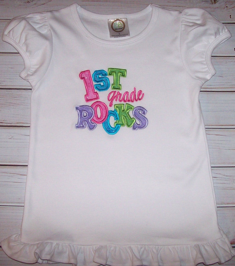 Sample SALE 1st Grade Rocks Glitter Applique White SS Shirt Size 6--Back To School--Pictures--First Grade