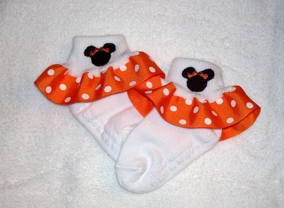 School Vacation Minnie Mouse Applique Red Polka Dot Ruffle Ribbon Socks Cruise Ship socks Christmas Holiday