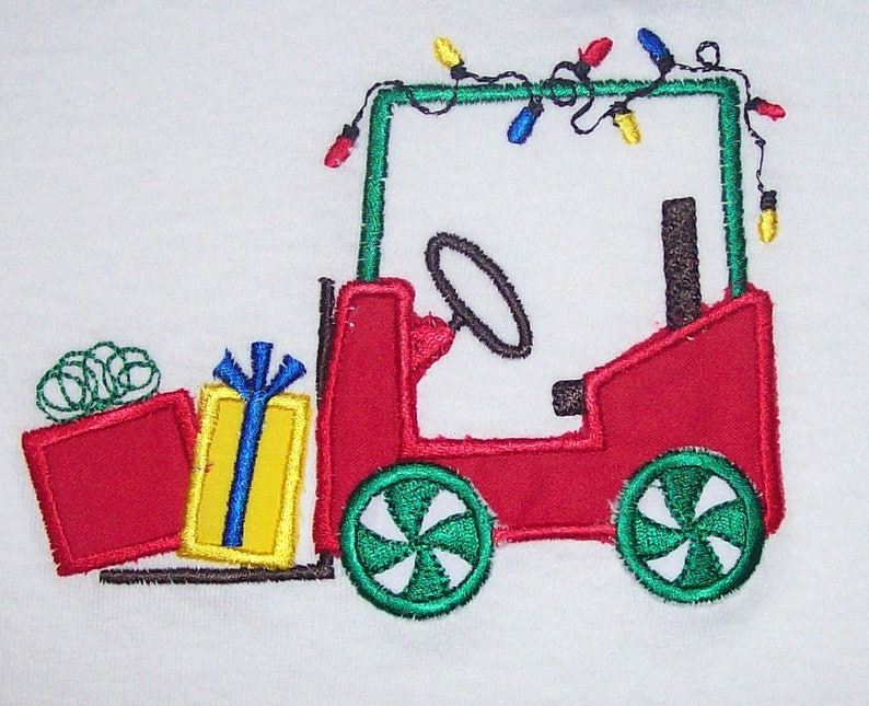 Sample Sale Santas Forklift With Presents Applique White Long Sleeve Shirt Size 4-5--Ready To Ship--Christmas--Holiday Lights--Elf