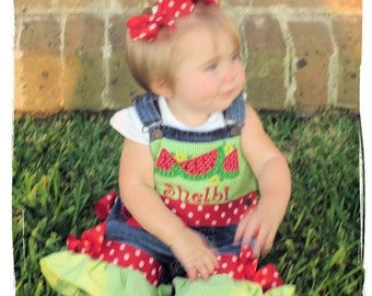 Watermelon Applique Pageant Overalls or Shortalls Ruffles & Bows - Birthday Party - Watermelon Festival