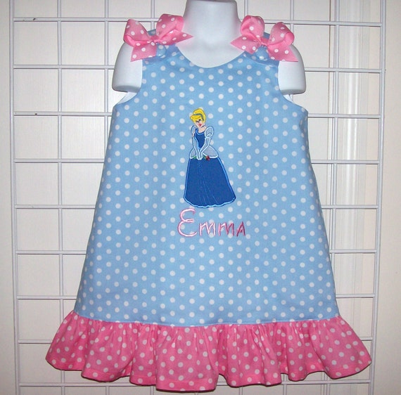 5cc80c1c0624 Light Blue Polka Dot Cinderella Applique Monogram Dress with