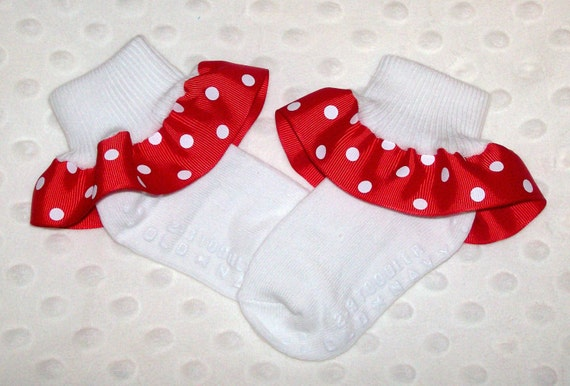GIRLS WHITE FRILLY LACE SOCKS SIZE LOTS OF SIZES RED BOW WITH WHITE POLKA DOTS