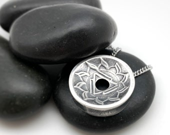 MADE TO ORDER: Small, Silver Solar Plexus Chakra Centering Pendant©, Yoga Jewelry, Lotus Jewelry, Meditation, Mindfulness, silver