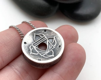 MADE TO ORDER Small, Silver Root Chakra Centering Pendant©, Yoga Jewelry, Lotus Jewelry, Meditation, Mindfulness, pure silver