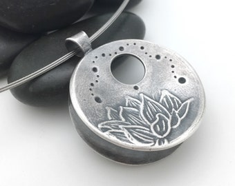 MADE TO ORDER: X-Large, Altered Form, 99.9% Pure Silver Centering Pendant©, Necklace Meditation Mindfulness yoga